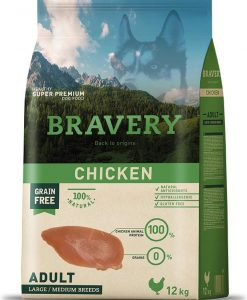 Granule pro psy BRAVERY dog ADULT large / medium CHICKEN  - 2 x 12kg + 4kg GRATIS