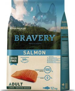 Granule pro psy BRAVERY dog  ADULT large/medium SALMON - 2 x 12kg + 4kg GRATIS