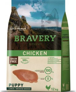 Granule pro psy BRAVERY dog PUPPY large / medium CHICKEN - 2 x 12kg