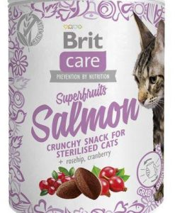 Pamlsky a pochoutky BRIT CARE cat SNACK  SUPERFRUITS SALMON  - 100g