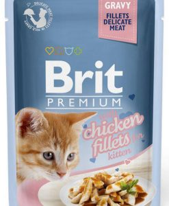 Kapsy BRIT cat  kapsa  FILLETS     KITTEN chicken/šťáva    - 85g
