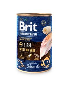 Konzervy BRIT dog Premium by Nature FISH with FISH skin   - 800g