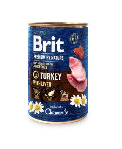 Konzervy BRIT dog Premium by Nature TURKEY with LIVER   - 400g