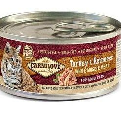 Konzervy CARNILOVE cat konz. ADULT TURKEY/reindeer  - 100g