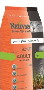 Granule pro kočky NATIVIA cat ADULT duck/rice HAIRBALL - 1