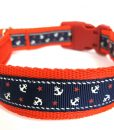 Obojky Obojek  LITTLE sailors NAVY on RED                 - 22-38 / 2