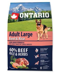 Granule pro psy ONTARIO dog  ADULT LARGE beef and rice - 12kg